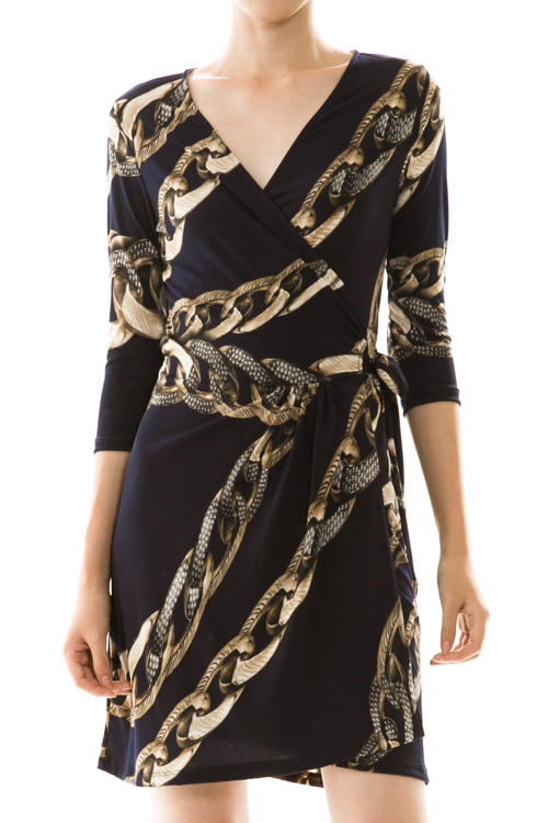 Chain Print Surplice Wrap Dress