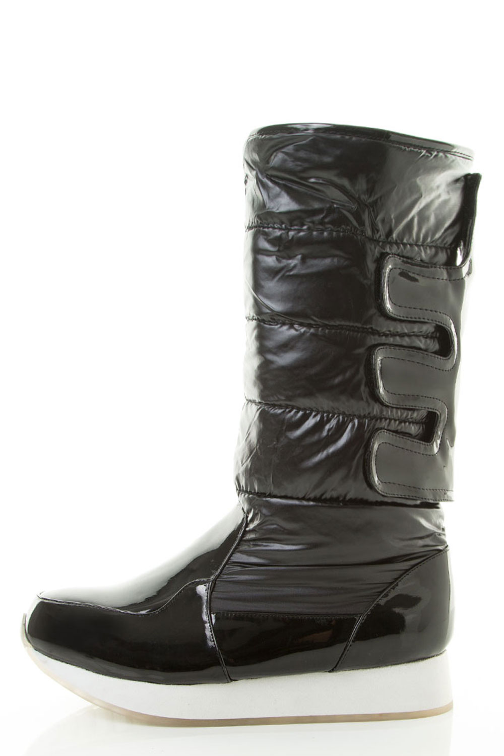 Mid Calf Puffy Low Platform Round Toe Winter Booties