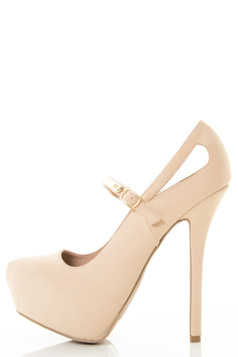 Mary Jane Almond Toe Platform Stiletto Gold Accent Strap Heels