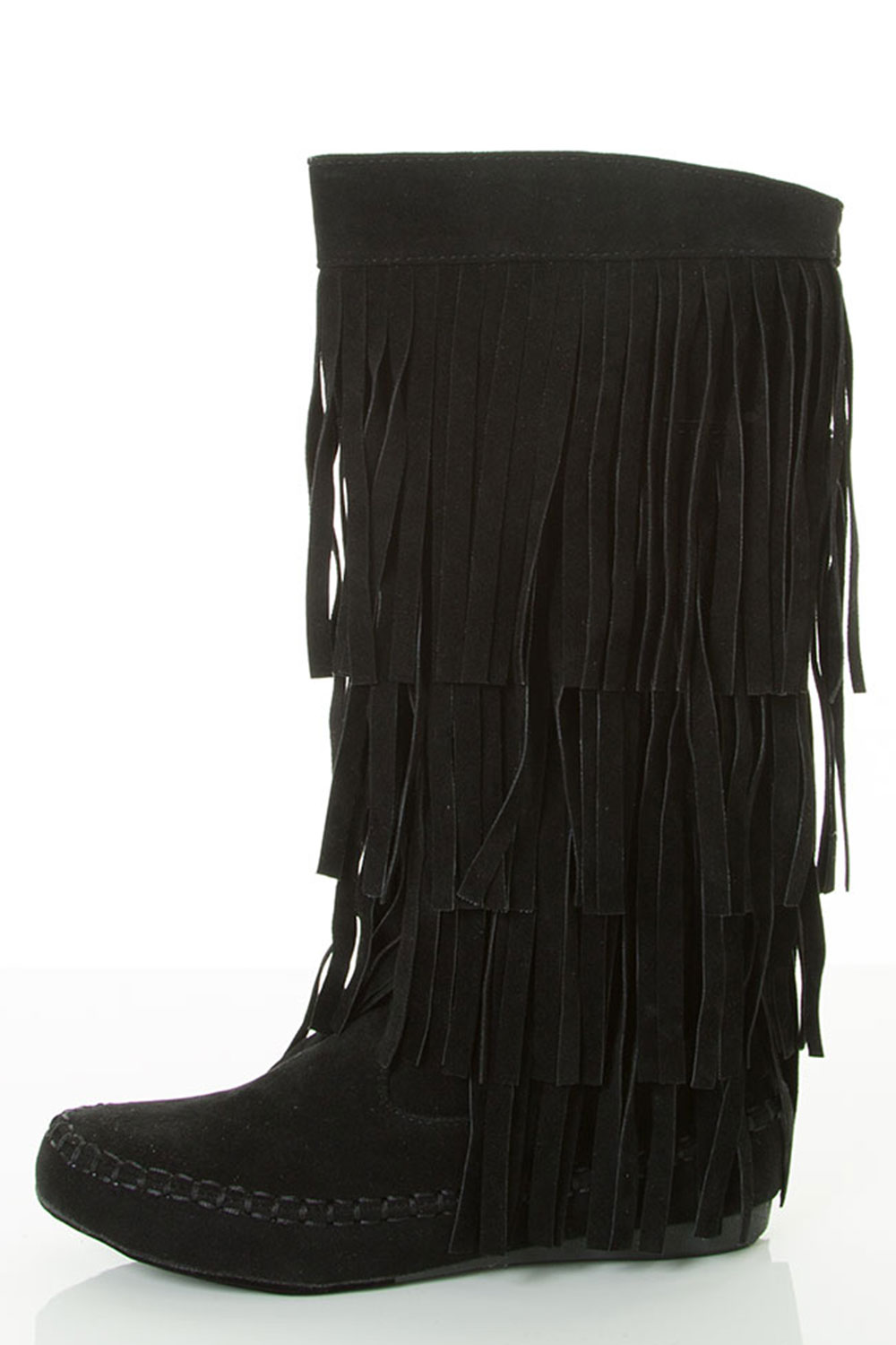 Round Toe Mid-Calf Height Flat Heel Fringe Layer Accent Boots