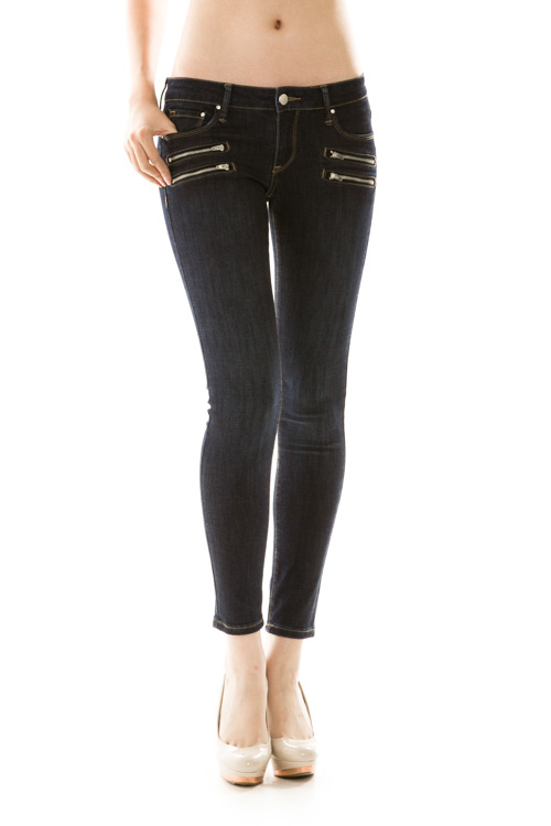 Zipper Detail Denim Skinny Jeans