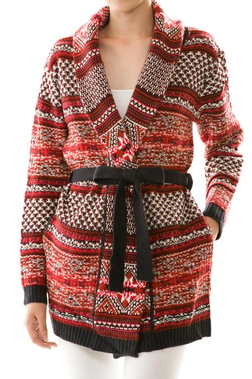 Multi Print Waist Tie Knit Coat