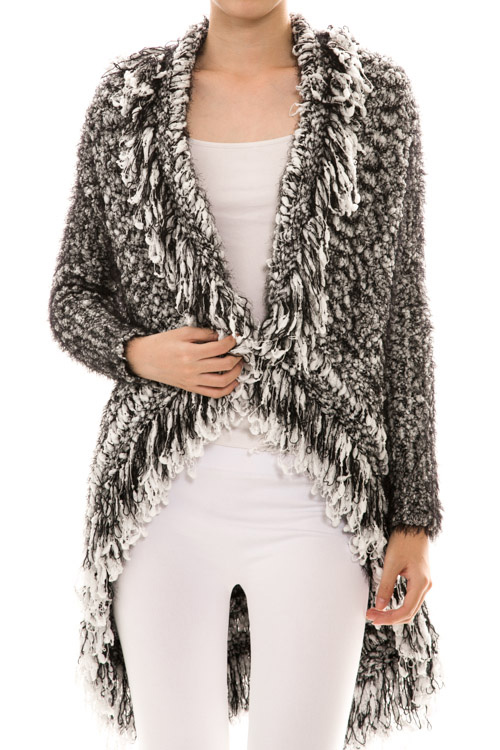 Open Front Two Tone Destroyed Fringe Knit Cardigan