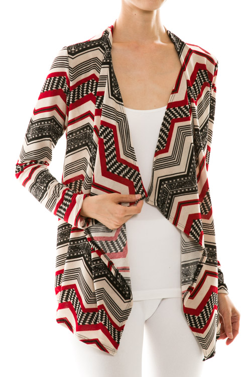 Chevron Print Draped Neck Cardigan