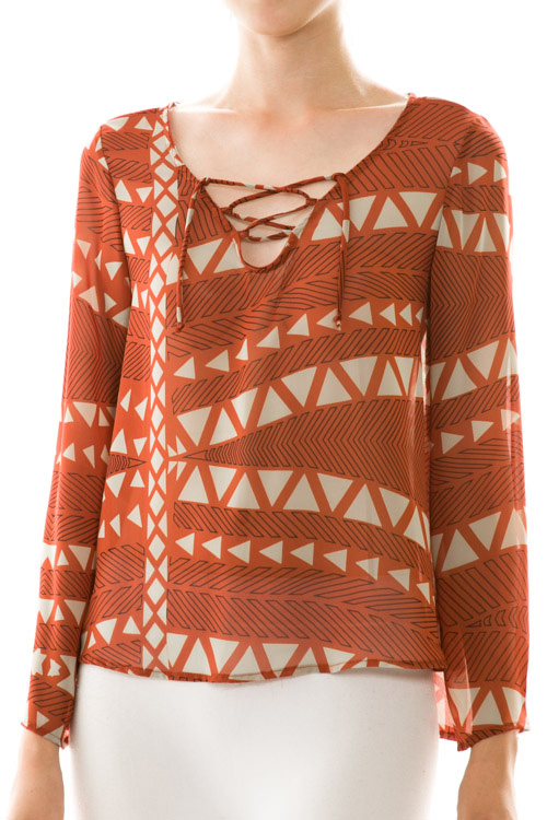 Triangle Print Long Sleeve Chiffon Blouse