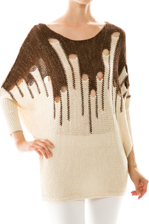 Metallic Open Knit Detail Dolman Sweater