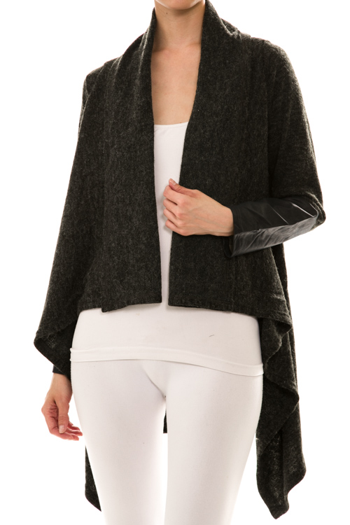 High-Low Draped Knit Cardigan
