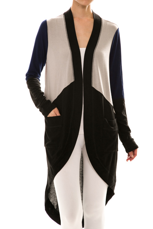 Open Front Long Sleeve Color Block Maxi Cardigan