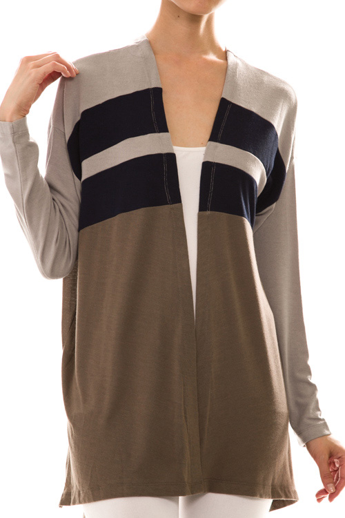 Long Sleeve Open Front Color Block Caridgan